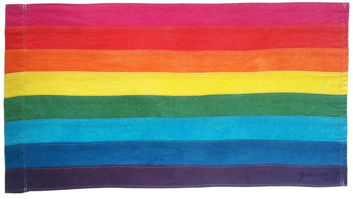 "Gilbert's original eight-striped flag in 1978. The hot pink and turquoise were later removed to make mass production easier, and to make it easy to fly the flag in two halves (three colors each) from lightposts on either side of the street following Harvey Milk's assassination. However, in 2004 at the Key West Pride Festival, Gilbert said it was time to bring back the two stripes: ""We lost two of the original colors, pink and turquoise. It's time, however, to restore the original design. First, it is simply more beautiful and more authentic. Moreover, when we lost the pink, we lost the symbol for our sexual liberation. The missing turquoise honors Native Americans and the magic of life. Both colors are needed to embrace our history."""