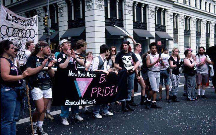 New York Area Bisexual Network contingent at NYC Pride March with Brenda Howard visible second from the right (black tank top).