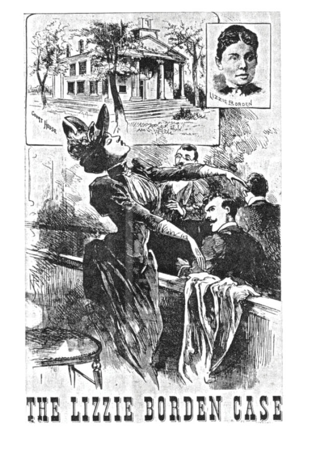 An illustration of Lizzie fainting at the reveal of the disfigured skulls of Abby and Andrew in the courtroom.