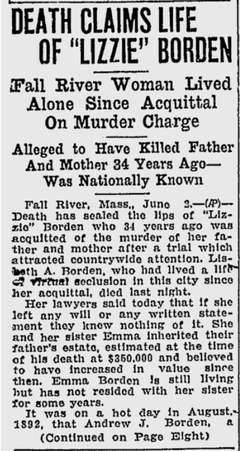 Article announcing Lizzie's death in the  Lewiston Daily Sun