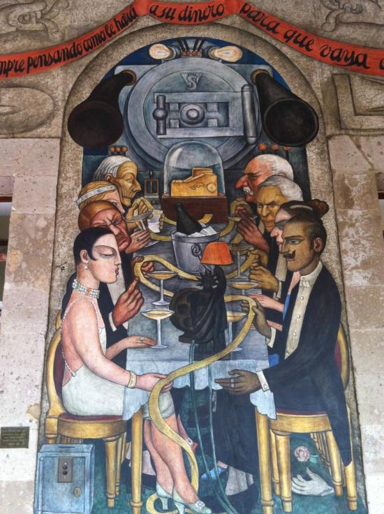 Mural for the ministry of education, by Diego Rivera, 1929, featuring Frida Kahlo (bottom left, front).