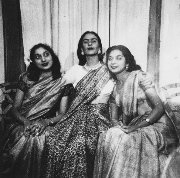 Frida Kahlo (center) with Nayantara Sahgal and Rita Dar, 1947.