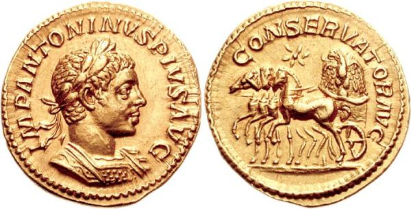 Roman aureus featuring the bust of elagabalus (right) and a chariot driven by four horses (right) containing the stone of emesa—representing Elagabal—topped by an eagle—a symbol of protection in Syrian iconography and of roman imperial authority in roman iconography. 222 CE.