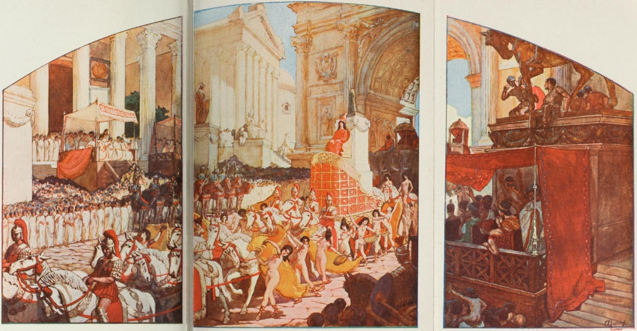 Elagabalus' entrance into Rome, with the baetyl representing elagabal behind him, as illustrated by Auguste Leroux for the novel  L'Agonie  by Jean Lombard (1902 edition). 1902.
