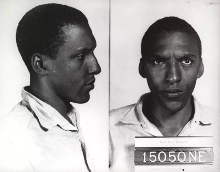 Bayard Rustin's mug shot from his 1944 arrest for resisting the draft.