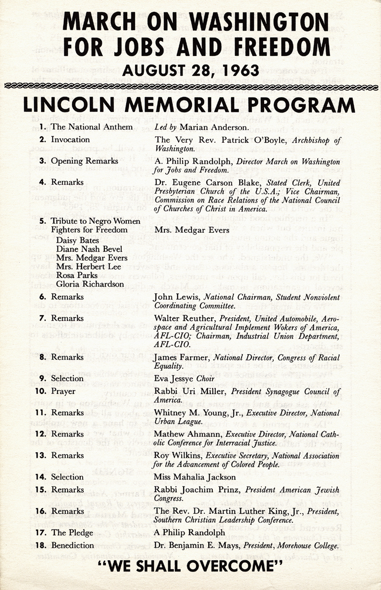 Program from the 1963 march on washington.