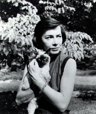 Highsmith and her cat Ripley (date Unknown).