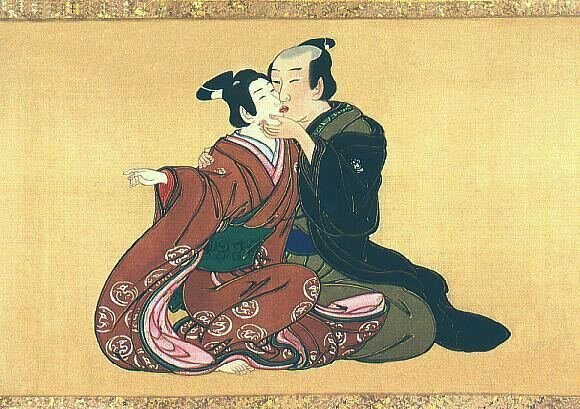 """Man and youth,"" Miyagawa Isshō. ca. 1750. Note that the style and color of the kimono on the left would have been appropriate for youths of all genders, but not adult males. The kimono and hairstyle thus declares the youth to be the  wakashu  partner, and his exposed feet denote a sexual demeanor."