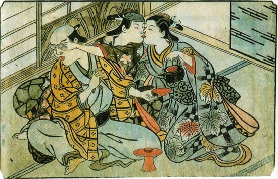 Nishikawa Sukenobu. ca. 1716–1735. A wakashu (center) steals a kiss from a female sex worker (right) behind the back of his male patron (left).