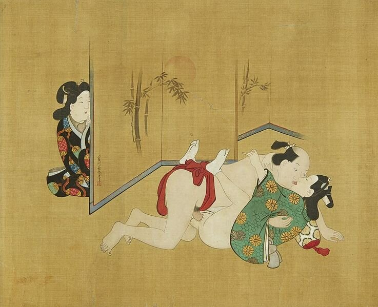 "Miyagawa Choshun (1683-1753),from ""A Rare and Important Nanshoku (Male-Male) Shunga Handscroll."" 18th Century. Note the Chrysanthemums on the chigo's Kimono (Right/Bottom)."
