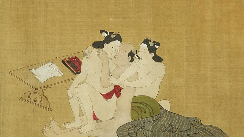 "Miyagawa Choshun (1683-1753),from ""A Rare and Important Nanshoku (Male-Male) Shunga Handscroll."" 18th Century. That feel when you're about to write a letter but decide a threesome is better."