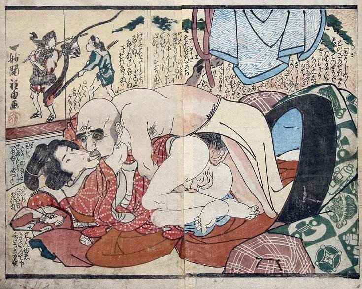 """Old Buddhist,"" Utagawa Kuniyoshi. Late 18th/early 19th Century. Note again the bare feet (indicating a sexual demeanor); the brocade Kesa robe indicates the wealthy status of cleric."