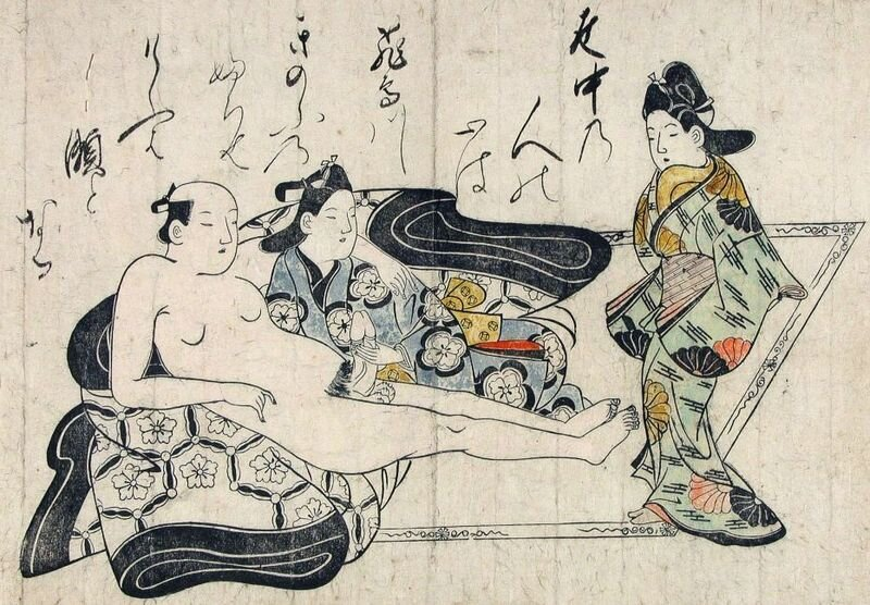 hishikawa moronobu,  Shunga . Early 1680s. A man reclines with one wakashu and converses with another. This is Possibly the first nanshoku erotic print, as well as an early example of a hand-colored ukiyo-e print in the shunga (erotic) style
