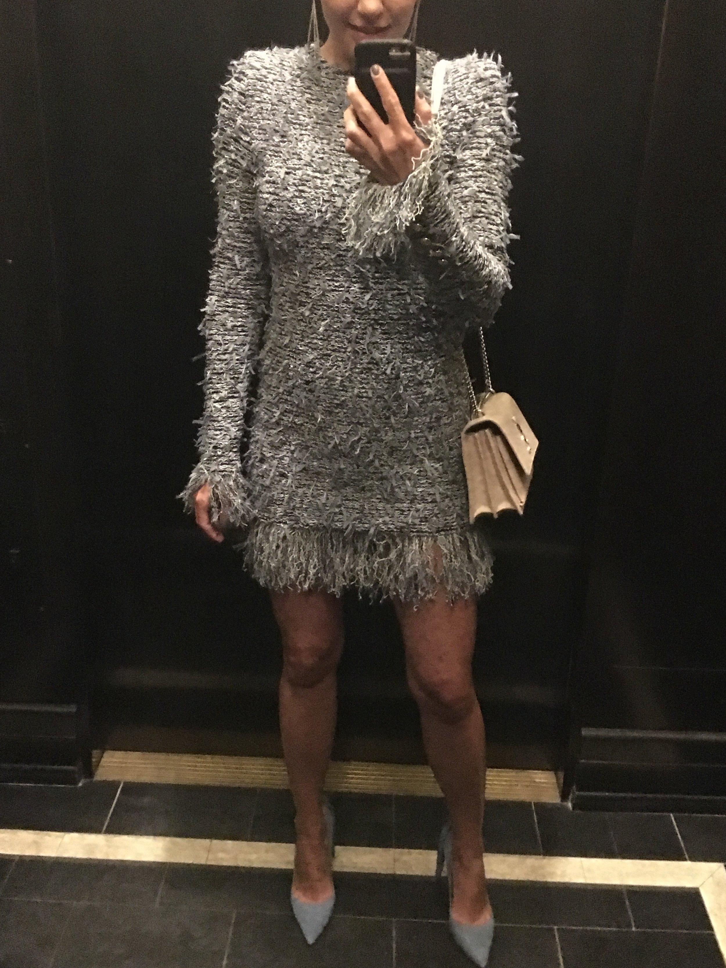 Balmain dress, YSL bag, Aquazzura pumps