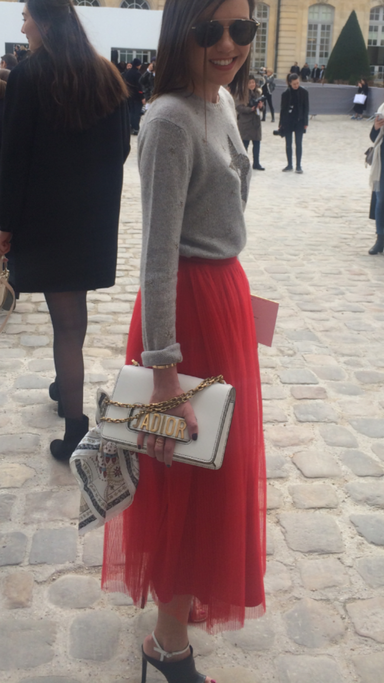 Dior sweater, Dior Skirt, Dior bag, Balenciaga shoes