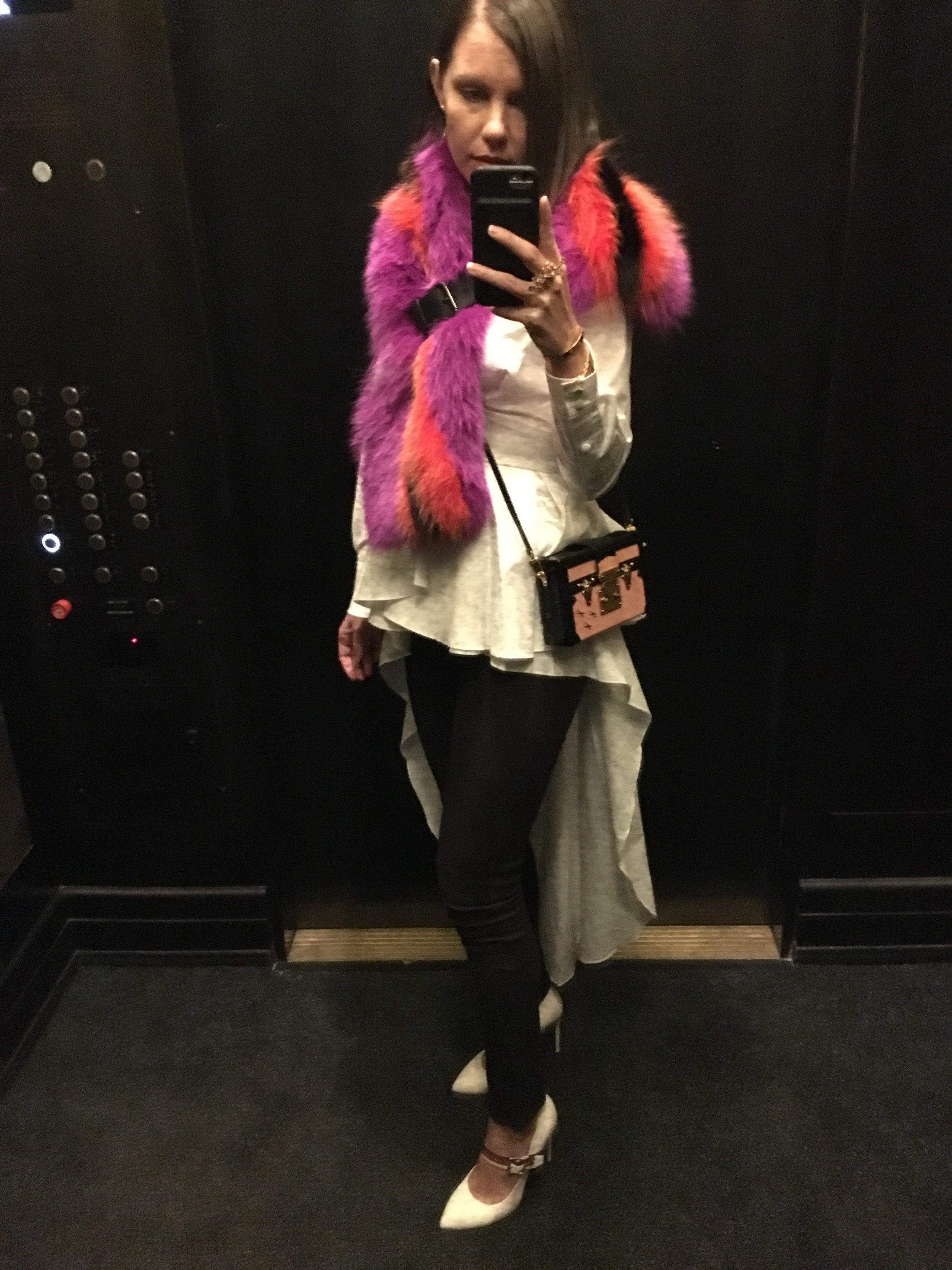 Fendi scarf, Johanna Ortiz top, Louis Vuitton bag, Gucci shoes