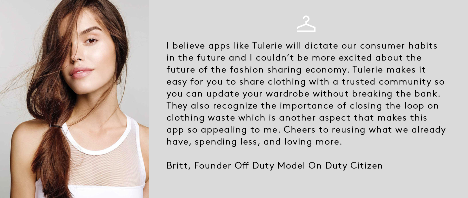 Tulerie Clothing Rental Testimonial Britt Bergmeister