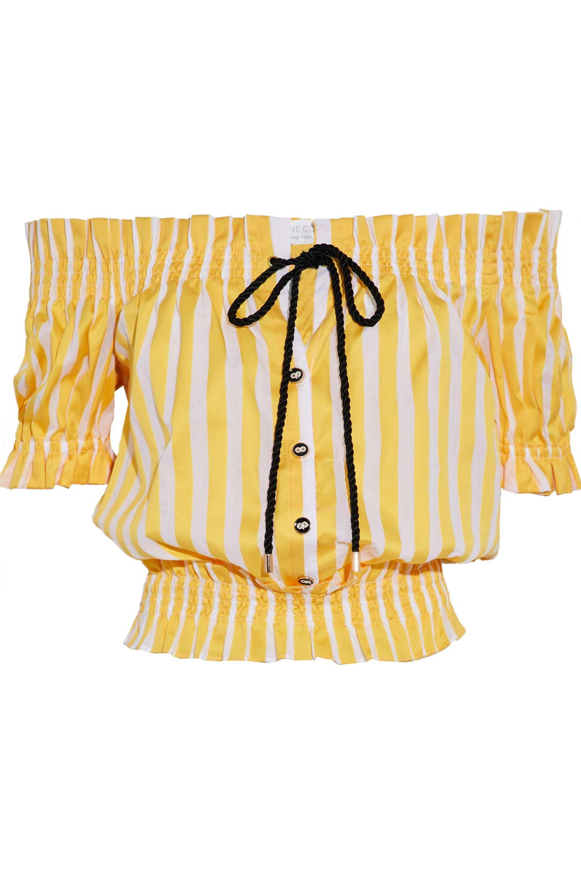 caroline-constas-Yellow-Woman-Peasant-Off-the-shoulder-Shirred-Striped-Cotton-poplin-Top-Yellow-2.jpg