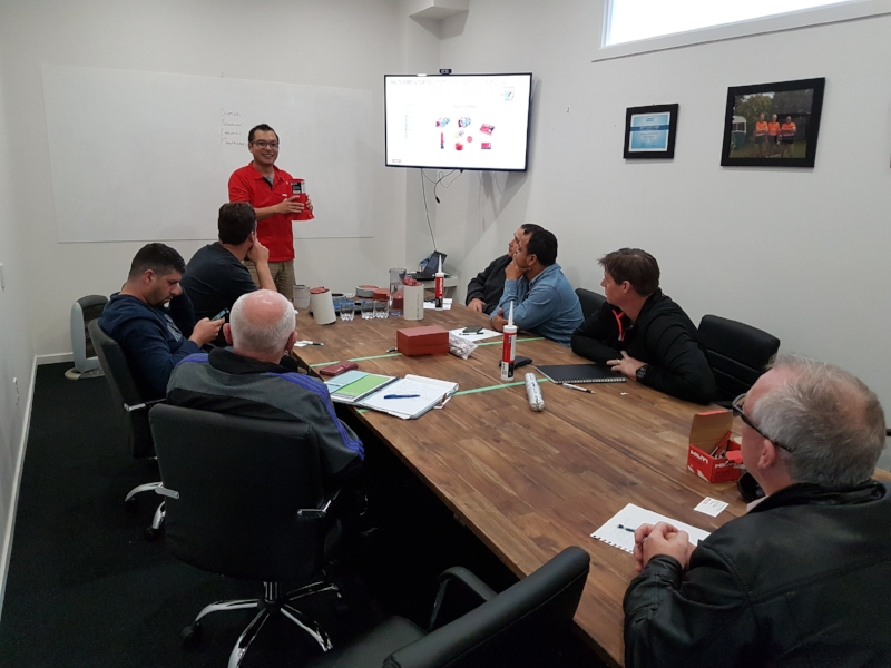Hilti presenting training on their products to the Passive Fire Team Leaders