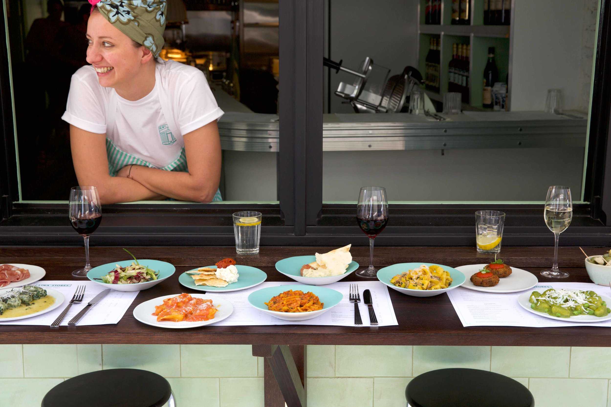 Head chef, Masha with a selection of her wonderful pastas
