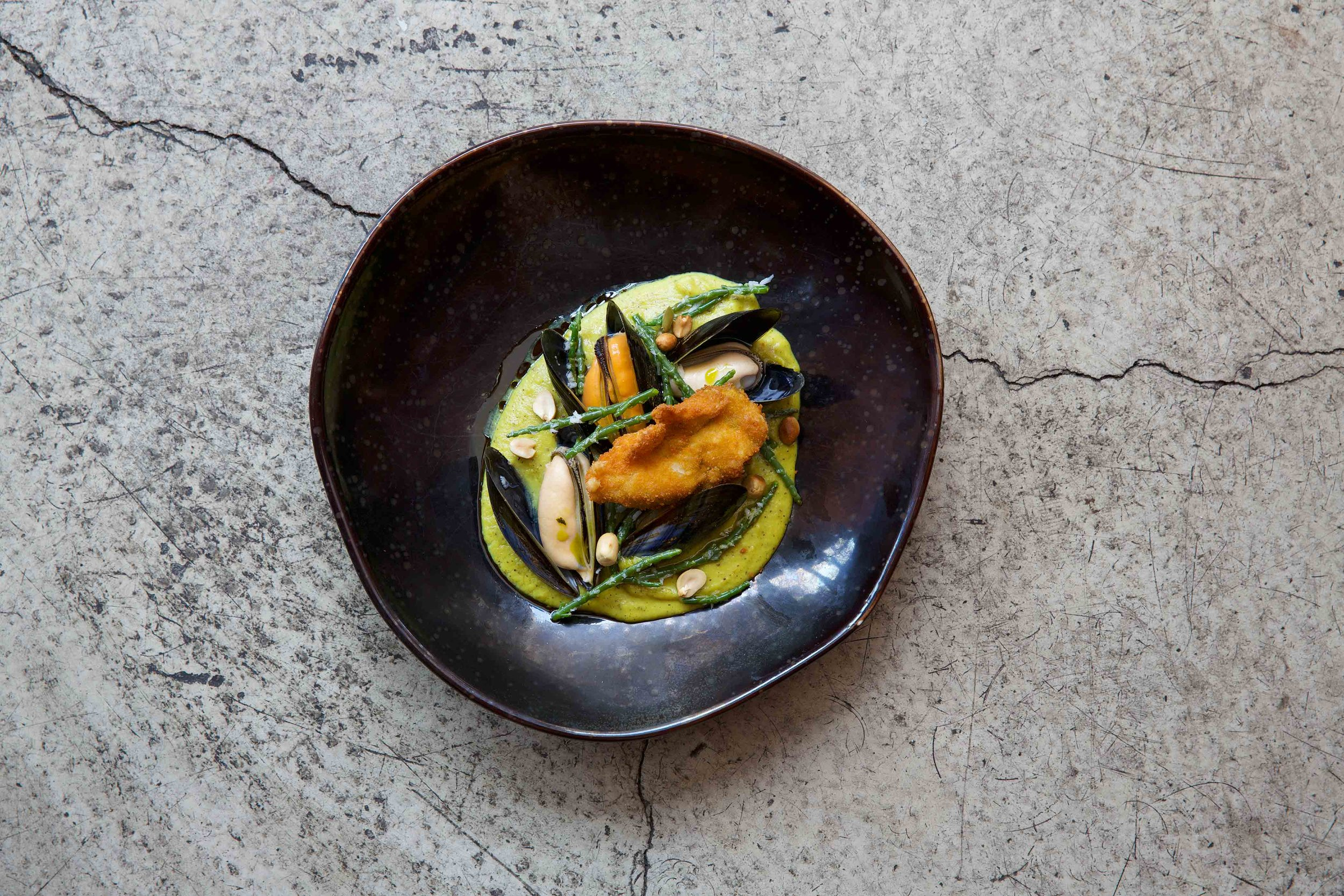 Crispy oyster and mussels in a coconut Keralan sauce