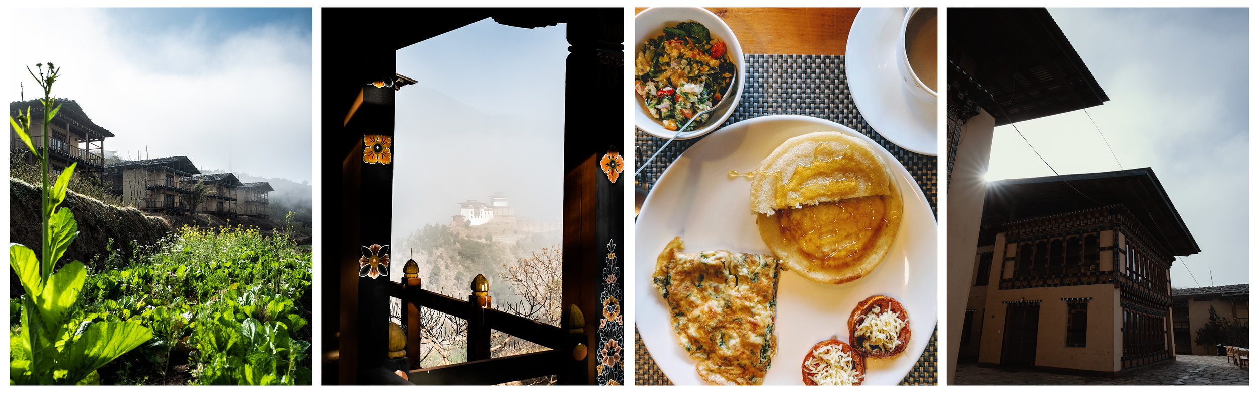 Eco Lodge  Rooms, View of Wangdue fortress, Breakfast, Courtyard