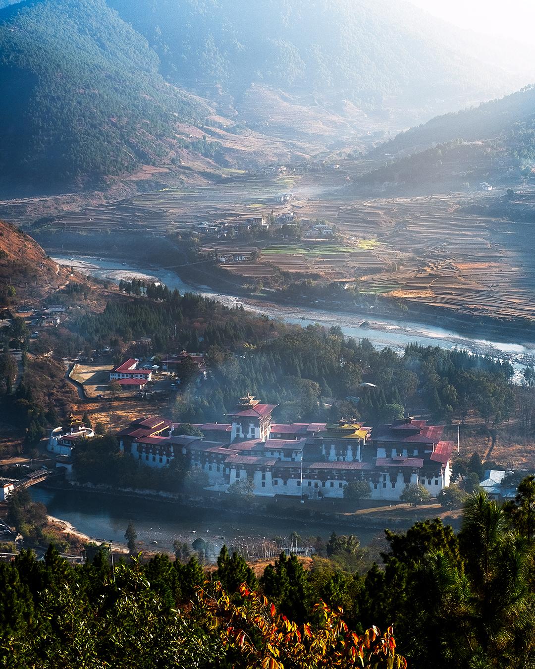 Punakha Dzong from  Dhumra farm  resort