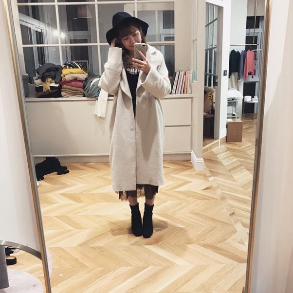 蕾絲點綴天鵝絨細肩帶洋裝  +  復古格紋長袖襯衫 + 小巴黎毛料長大衣