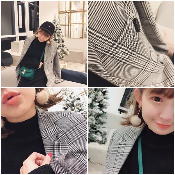 ONI STYLE簡約格紋西裝外套+暖冬坑紋小高領針織洋裝