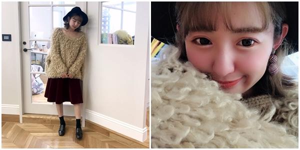 暖棉棉圈圈勾針毛衣 + 質感剪裁絨面圓裙 + NO,065韓國層次感千鳥格紋夾式耳環