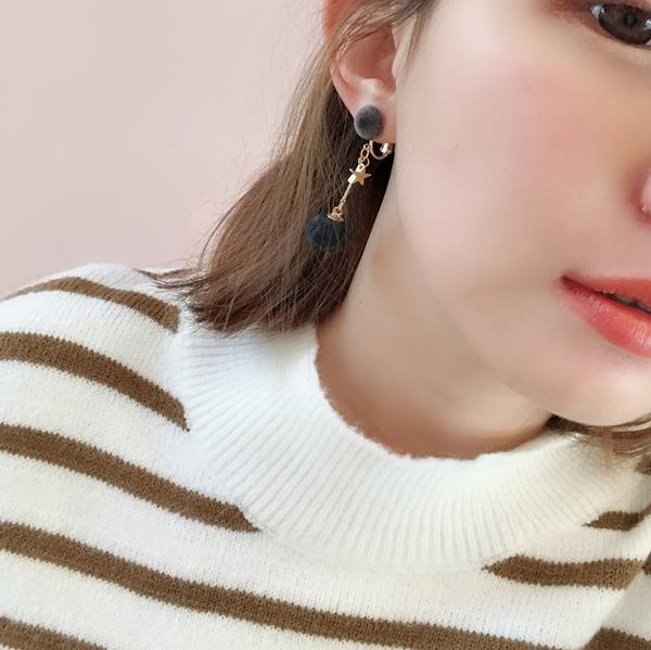 NO,068韓國星星毛球綴飾夾式耳環
