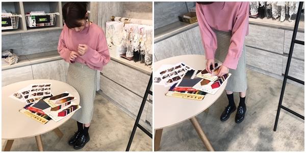 純色百搭圓領寬袖針織上衣  + 法式格紋過膝裙 +  NO,054韓國冬日氣息球球流蘇夾式耳環