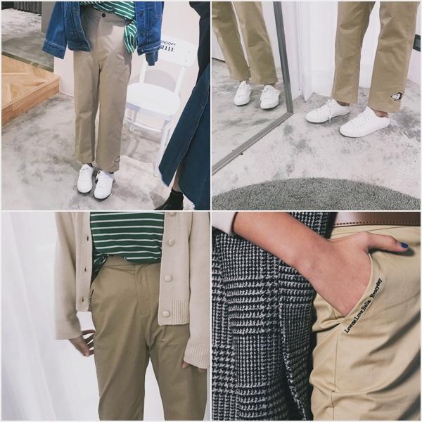SNOOPY & BELLE 條紋長袖落肩上衣  +  SNOOPY & BELLE刺繡後鬆緊腰圍休閒長褲  +  慵懶女孩包釦針織外套 + STREET LOOK 牛仔外套