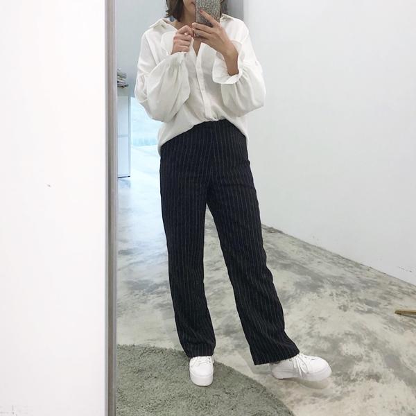 PAZZO質感雪紡泡泡荷葉袖襯衫-CASUAL-LOOK條紋落地西裝褲