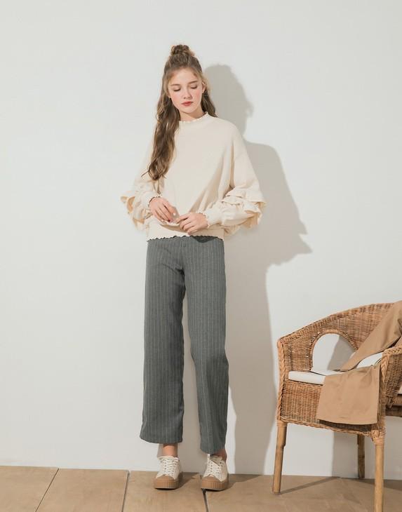 PAZZO-CASUAL-LOOK條紋落地西裝褲