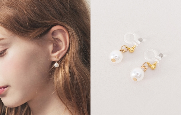 NO,009 女孩小珍珠夾式耳環