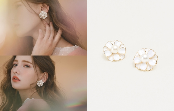 NO,023優雅珍珠花朵夾式耳環