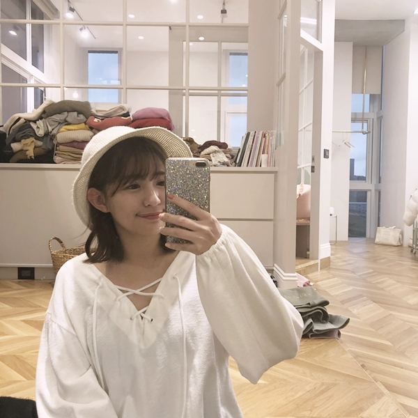 韓國針織漁夫帽  + MIT 綁繩造型拋袖上衣