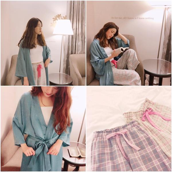 法式慵懶寬袖長版睡袍