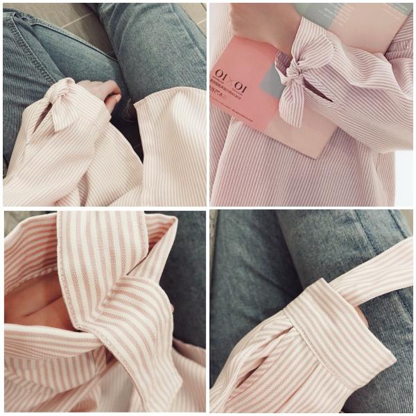 可愛設計感條紋綁帶襯衫 _.jpg