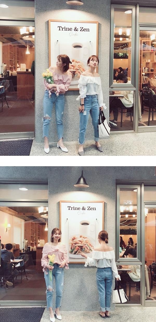 春氛微甜荷葉領雪紡上衣  +  #PS201 韓國製作. 破損感中腰牛仔褲  +  SNOOPY & BELLE印花造型口袋牛仔褲  + 法式質感品牌標語托特包