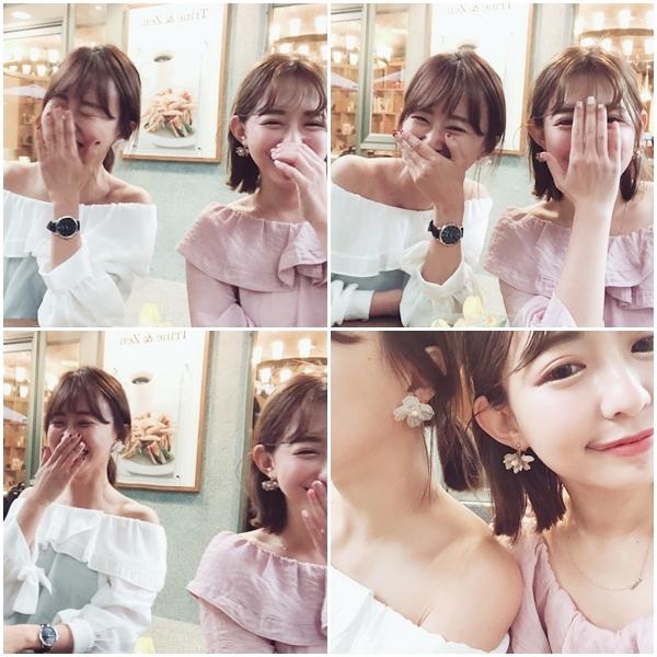 春氛微甜荷葉領雪紡上衣  +  NO,075韓國花朵垂墜珍珠點綴夾式耳環