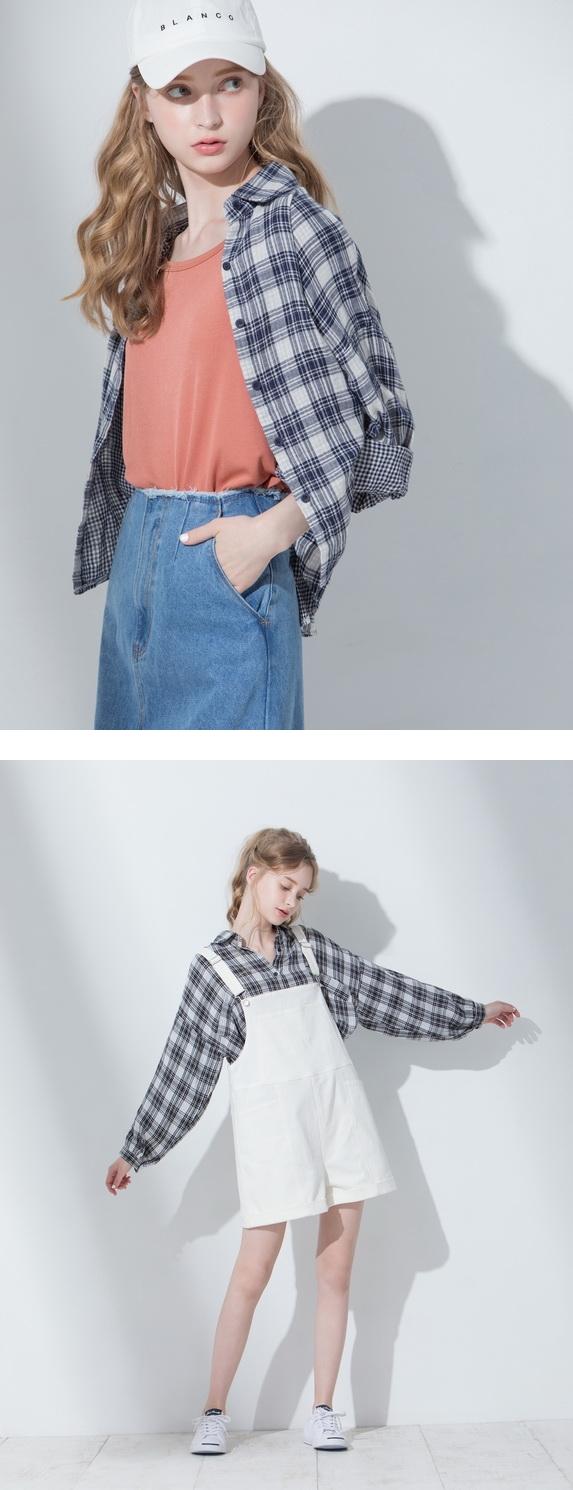 pazzo look/ 自在感格紋膨膨袖襯衫 + 百搭必備圓領上衣  + 率性抽鬚側開岔牛仔長裙  + 可愛設計感寬鬆吊帶褲