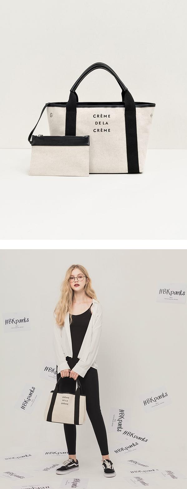 pazzo look/  法式質感品牌標語托特包  + MIT#BK102經典顯瘦貼身九分黑褲