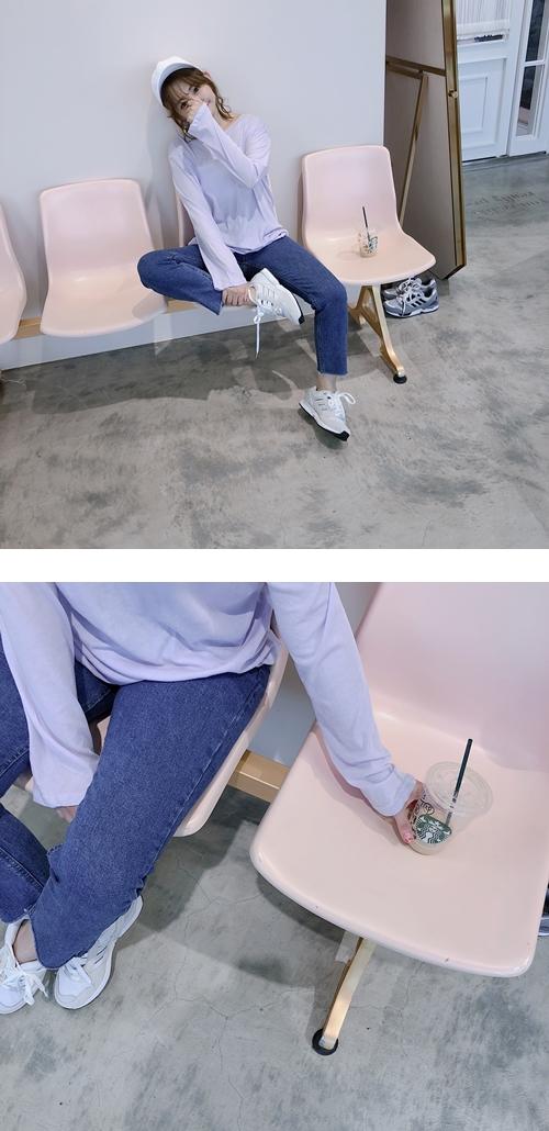 #PS201     褲口不修邊中腰牛仔褲 /穿M +  小性感透肌感長袖上衣  +  A'a / a little more me刺繡棒球帽