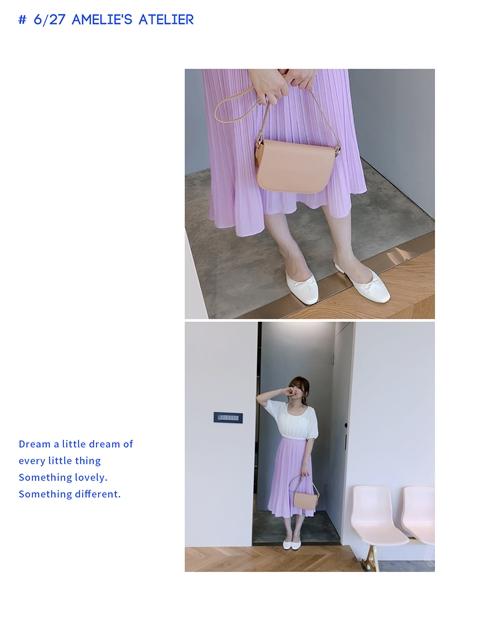 A'a   雪紡細褶長裙 +    簡約質感寬背帶純色包包