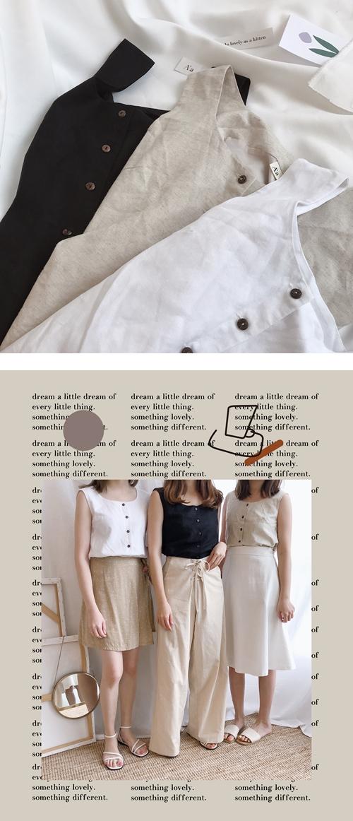 簡約棉麻方領無袖背心  +  抽繩綁帶造型長寬褲  +  氣質感後綁結傘襬中長裙
