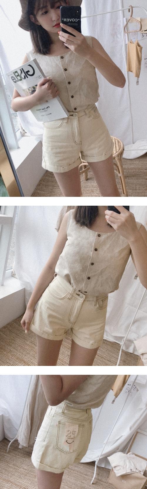 #PS系列 造型牛仔奶油短褲 +  簡約棉麻方領無袖背心