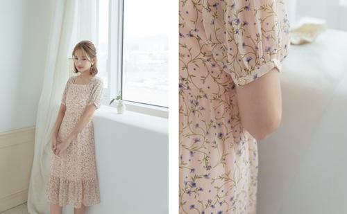 pazzo look/  優雅花園方形領澎袖洋裝