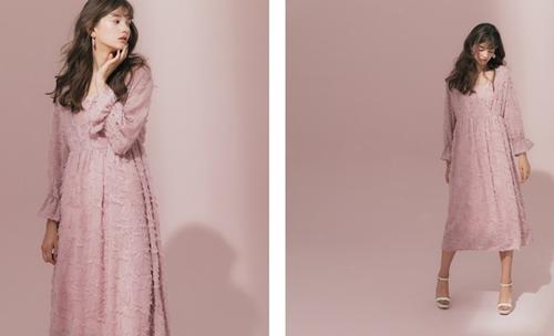 meierq. look/  毛毛感V領兩件式洋裝